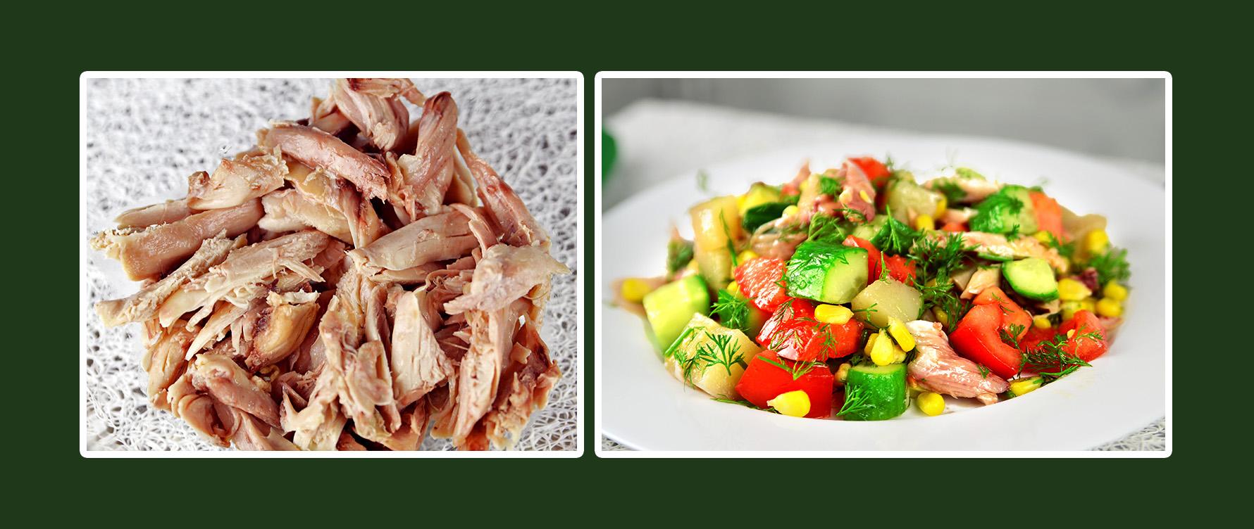 Gemüsesalat mit Hähnchenbrustfilet das Rezept