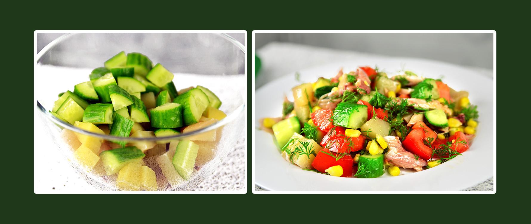 Gemüsesalat mit Hähnchenbrustfilet und Gurken