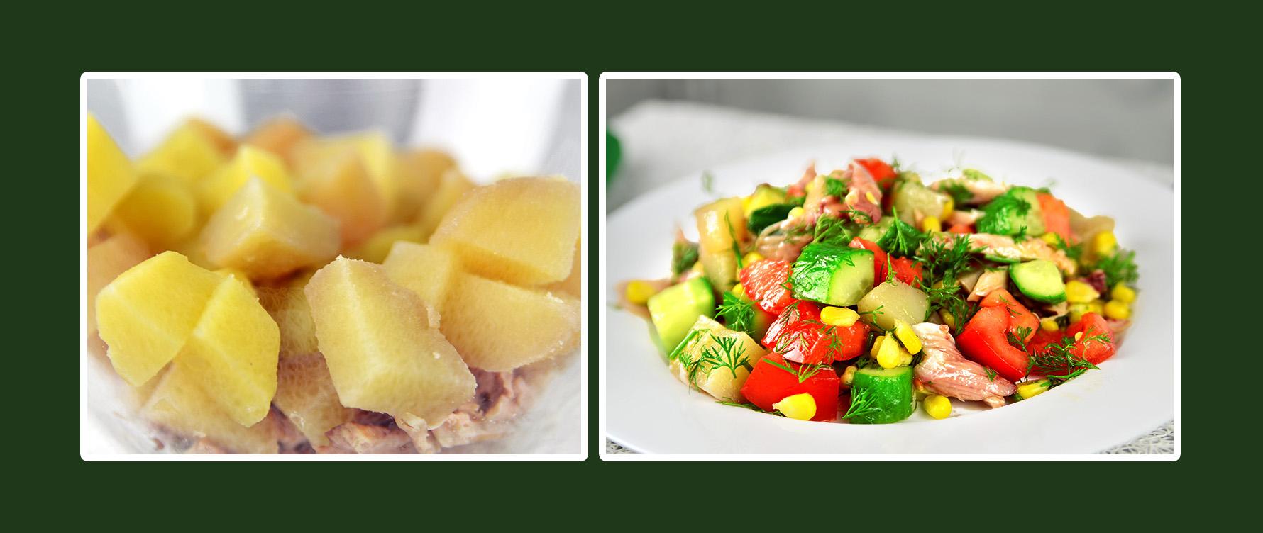 Gemüsesalat mit Hähnchenbrustfilet und Kartoffeln