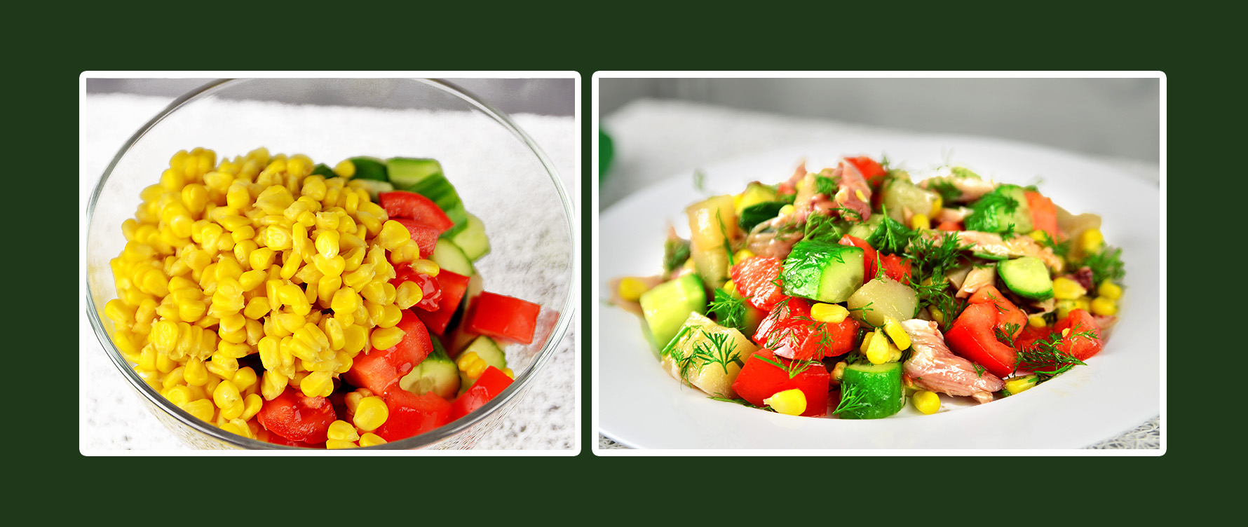 Gemüsesalat mit Hähnchenbrustfilet und Mais