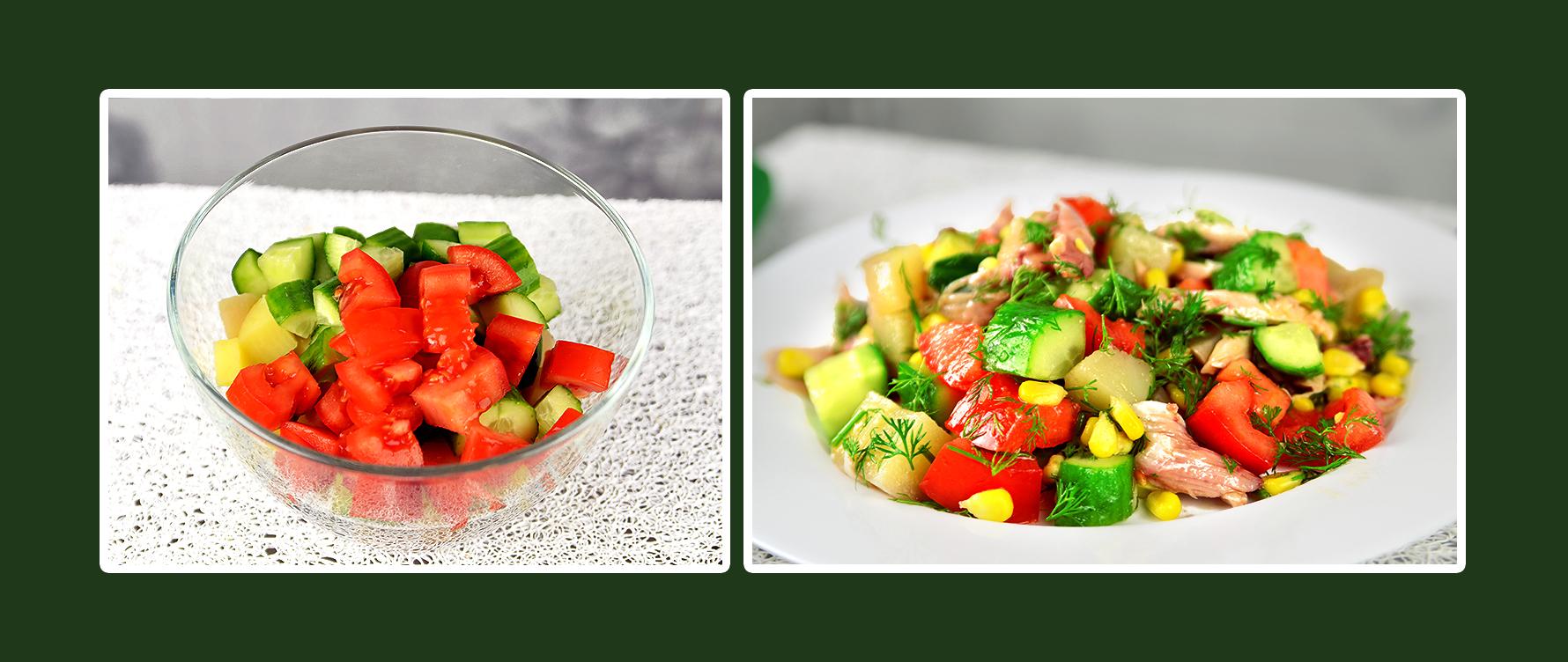 Gemüsesalat mit Hähnchenbrustfilet und Tomaten