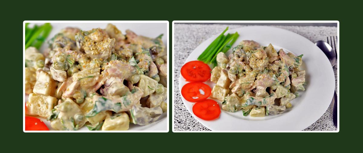 Hähnchen-Salat mit Dressing aus Schmand & Senf
