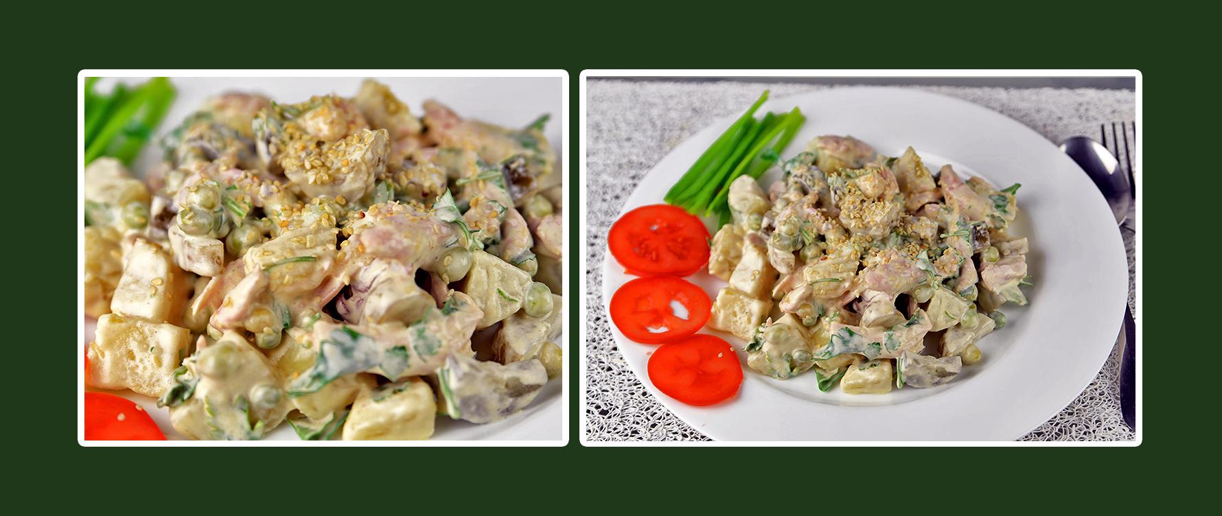Gesundes Hähnchen-Salat mit Dressing aus Schmand & Senf und etwas Sesam