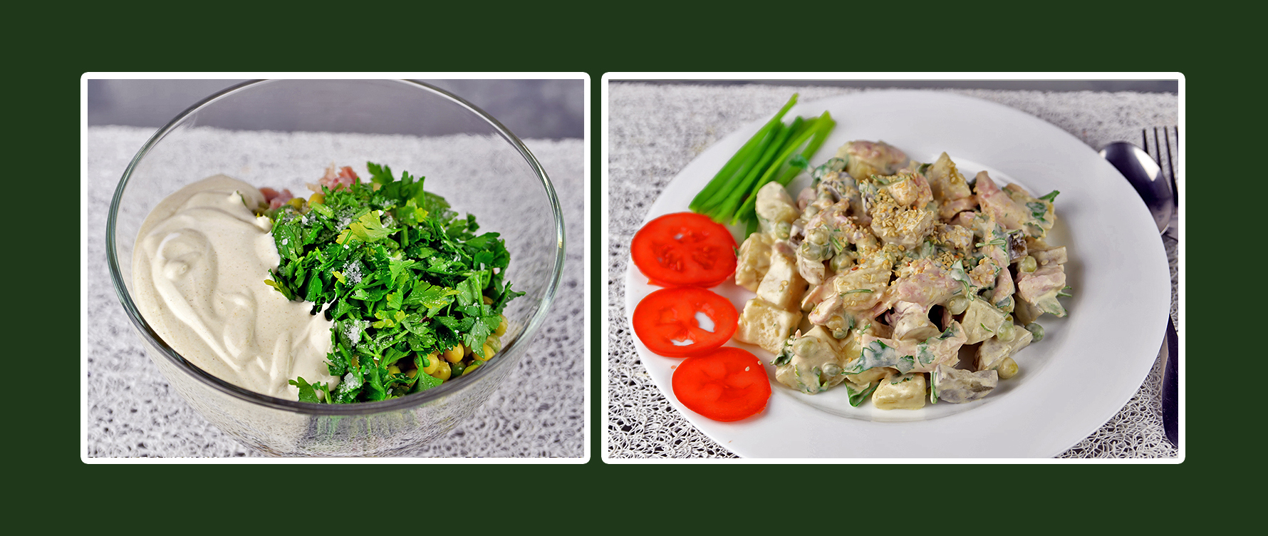 Hähnchen-Salat mit Dressing aus Schmand & Senf und Petersilie