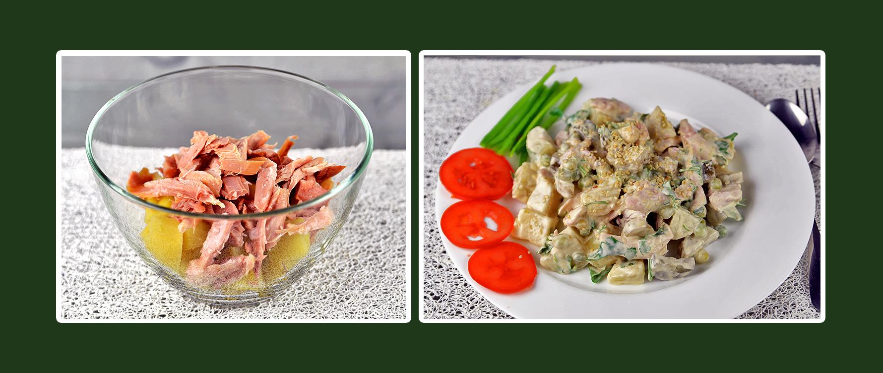 Salat mit geräuchertem Hähnchen und Dressing aus Schmand & Senf