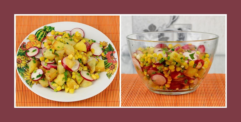Kartoffelsalat mit Frühlingsgemüse und Mais