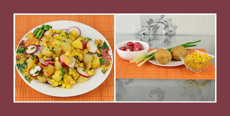Leckerer Frühlingssalat mit Bratkartoffeln, pikanten Radieschen, zartem Mais und Schnittlauch