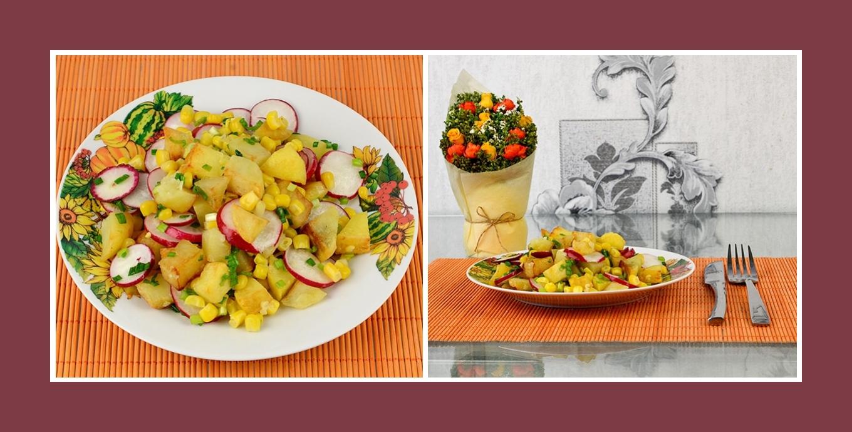 Origineller Bratkartoffel-Salat mit pikantem Frühlingsgemüse und Mais