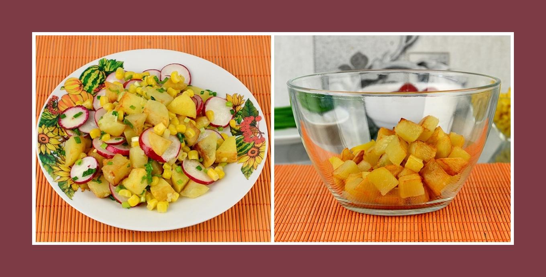 Salat aus Bratkartoffeln und Frühlingsgemüse