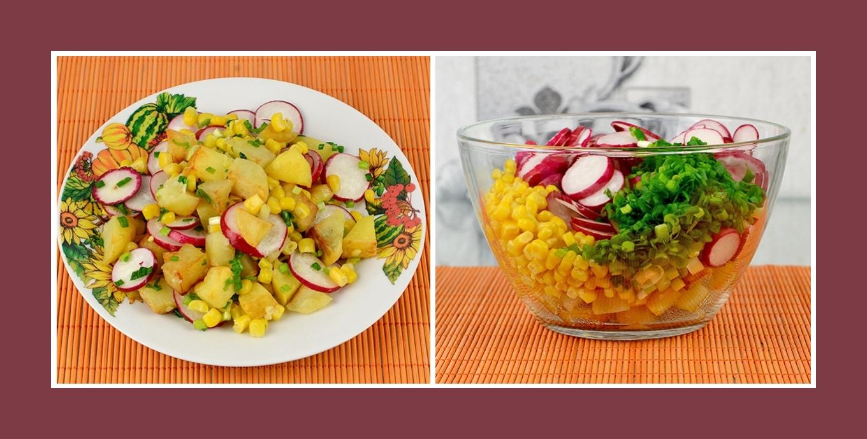 Salat mit Schnittlauch, Bratkartoffeln, Mais und pikanten Radieschen