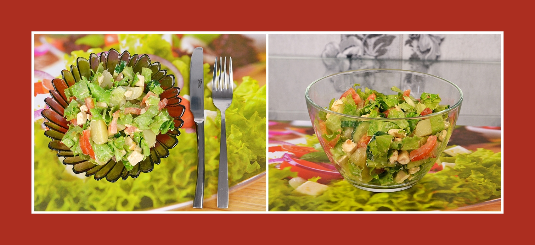 Frühkartoffelsalat mit Tomaten, Gurken, Gartensalat und Schmelzkäse