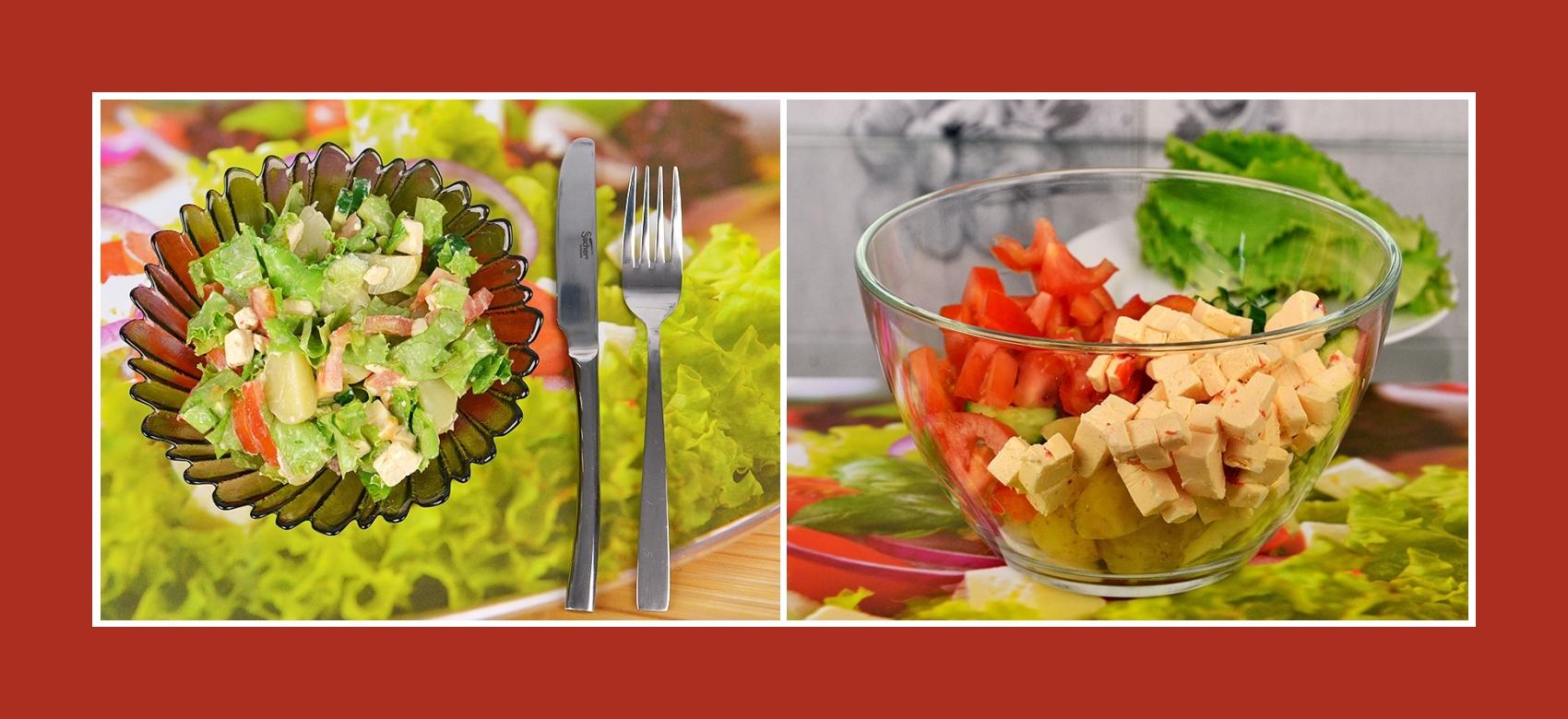 Gemüsesalat mit pikantem Schmelzkäse