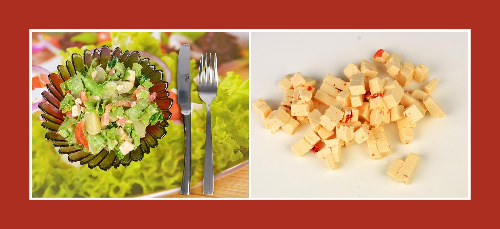 Pikanter Schmelzkäse mit Paprika für Gemüsesalat
