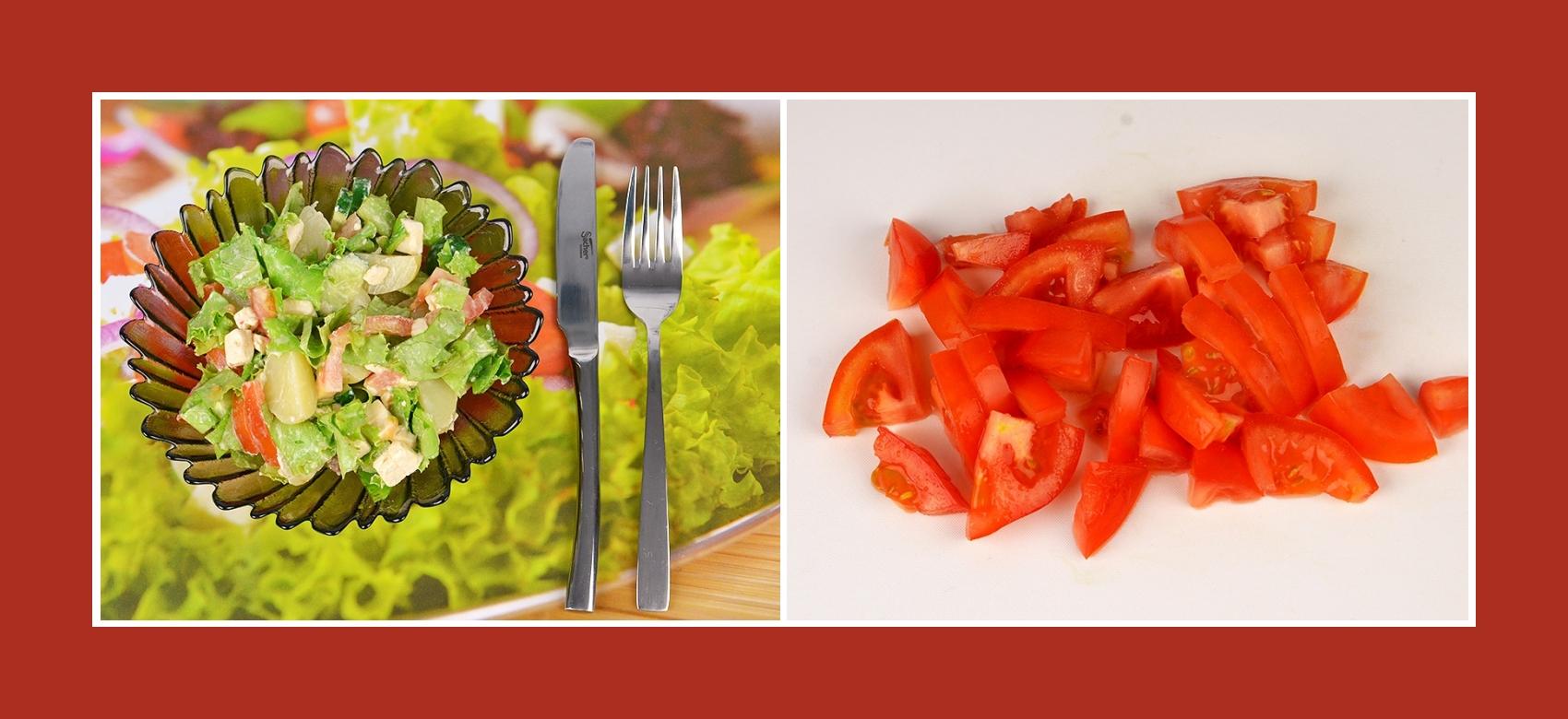 Tomaten für Kartoffelsalat mit Schmelzkäse