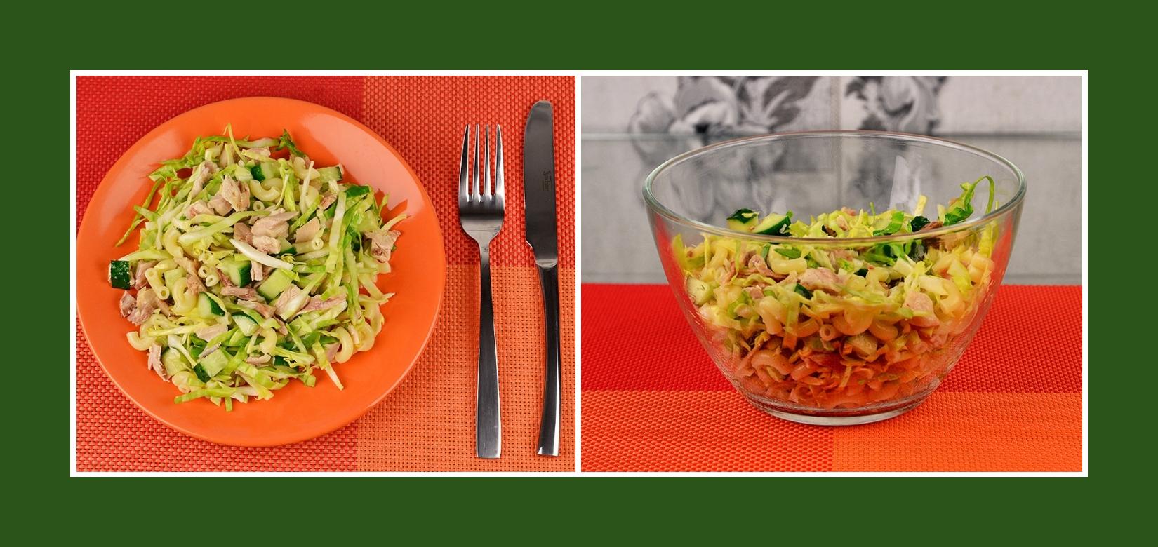 Erfrischender Frühlingssalat mit Frühlingsgemüse, Nudeln und Geflügel Hähnchenfleisch