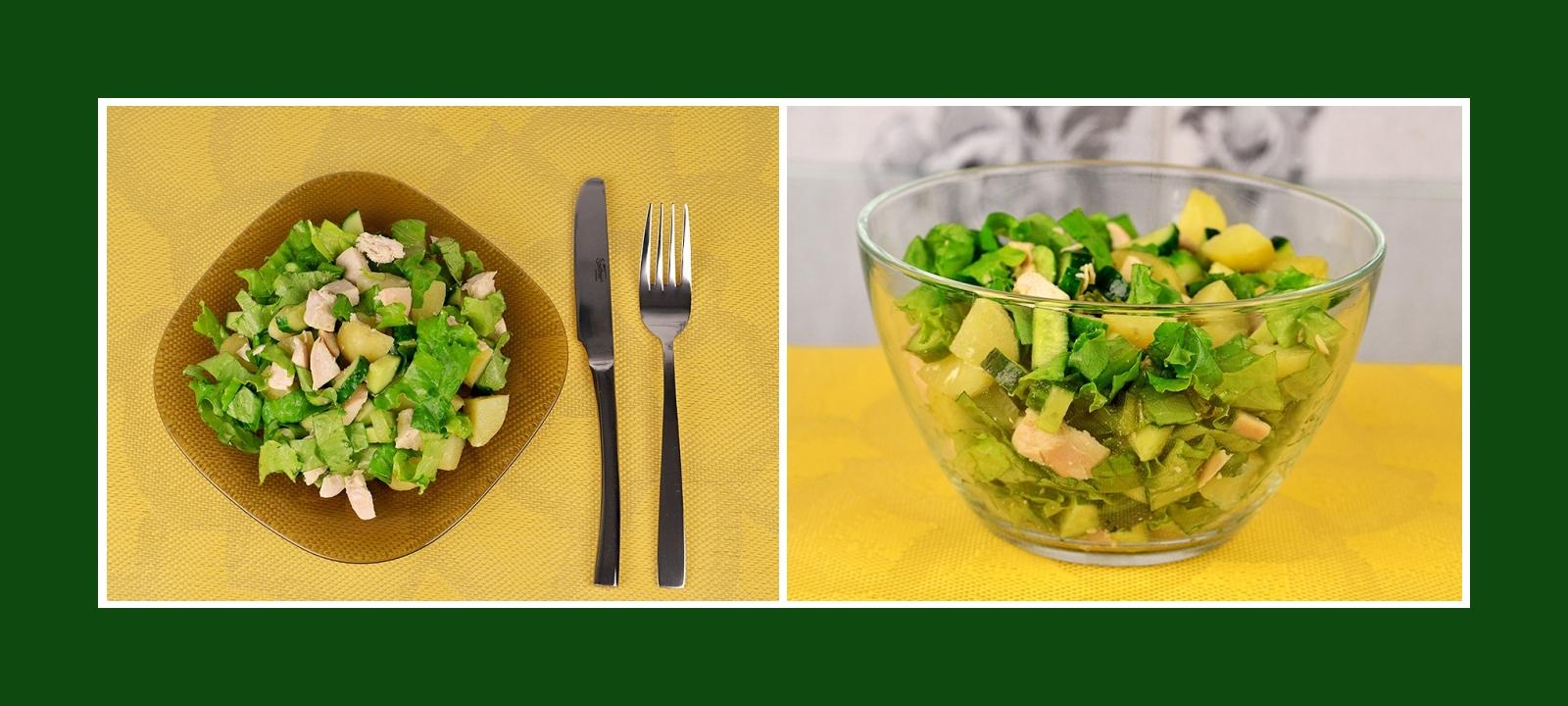 Fleischsalat Kartoffelsalat mit frischen Salat und Gurken