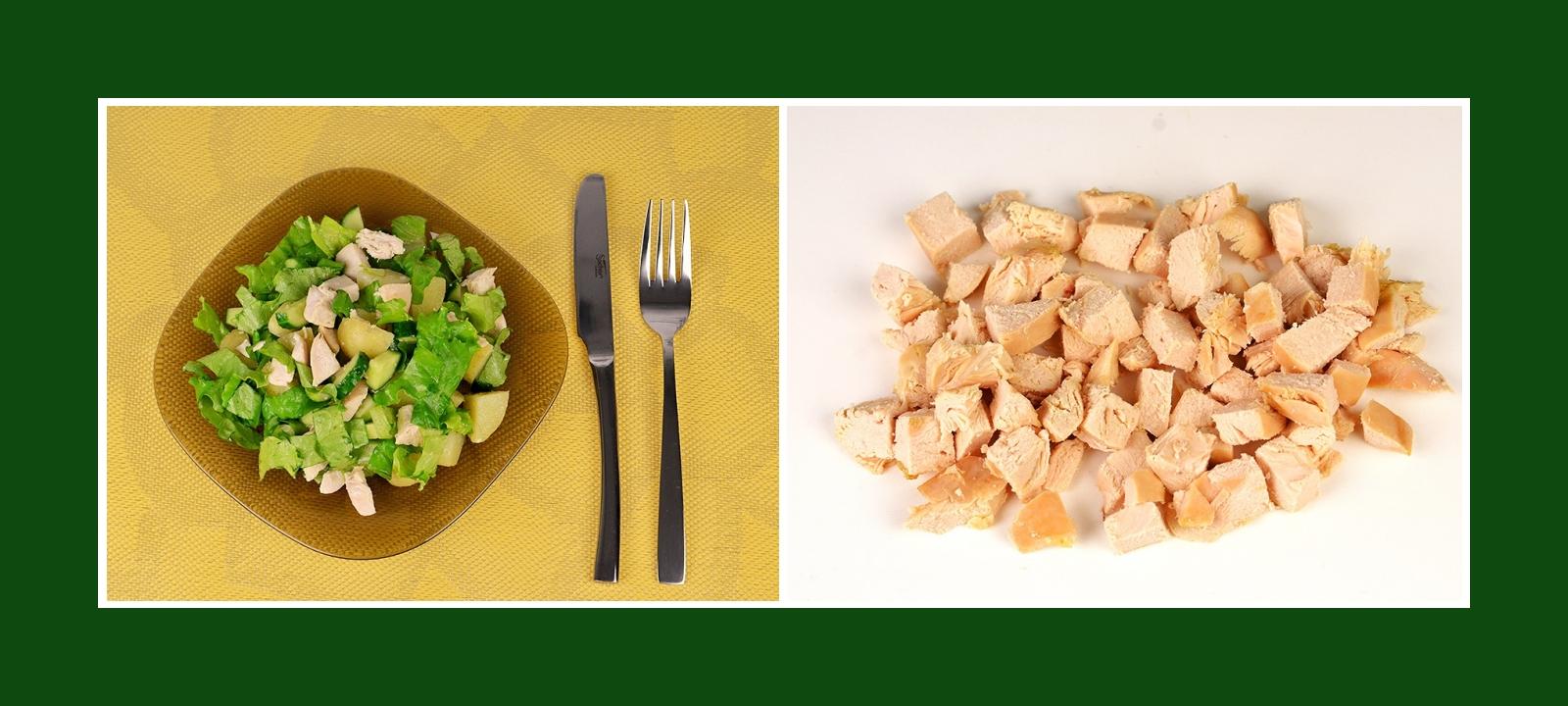 Grüner Salat mit Hähnchenfleisch