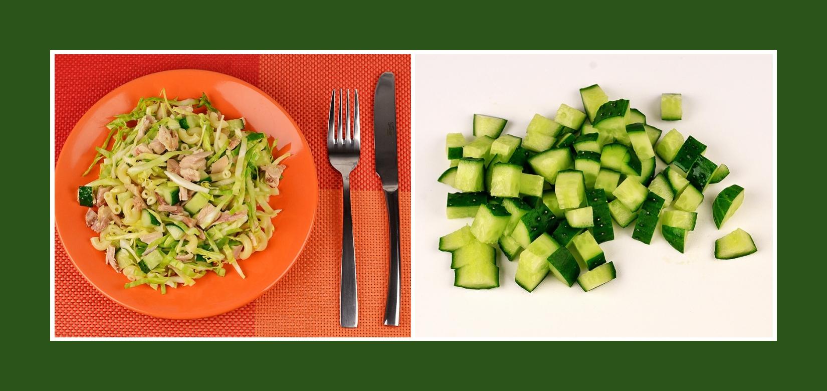 Gurken für Nudelsalat mit Fleisch