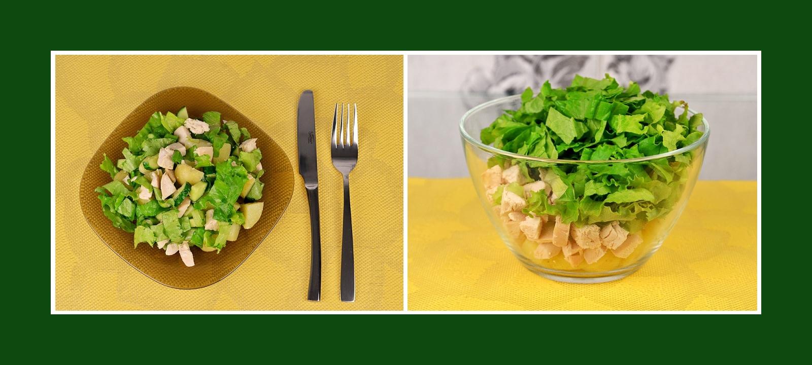 Zarter und leichter Salat mit Kartoffeln, Gurken, Salat und Fleisch