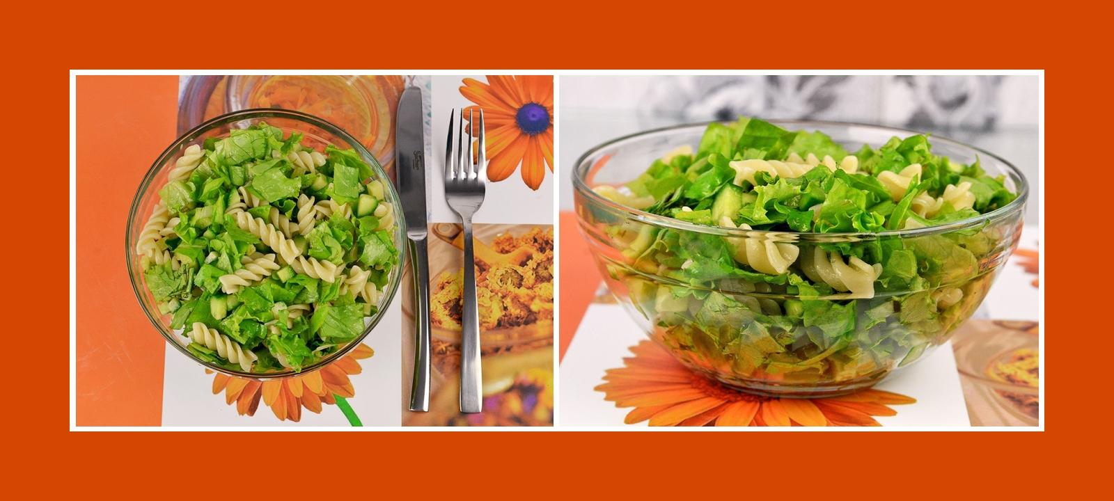 Grüner Salat schnell gemacht: aus Nudeln, Salatblättern, Gurken