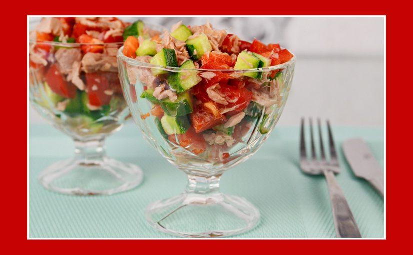 Thunfischsalat mit Gurken und Paprika